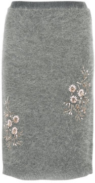 CITYSHOP floral embroidered knit mini skirt