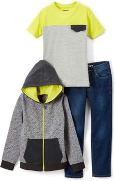 DKNY Heather Light Gray Hoodie Set - Infant, Toddler & Boys