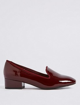 Marks and Spencer Wide Fit Leather Block Heel Pump Shoes