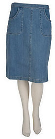 Denim & Co. As Is Classic Waist Colored Denim A-Line Skirt