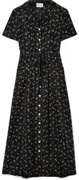 DAY Birger et Mikkelsen HVN - Long Maria Floral-print Silk Crepe De Chine Midi Dress - Black