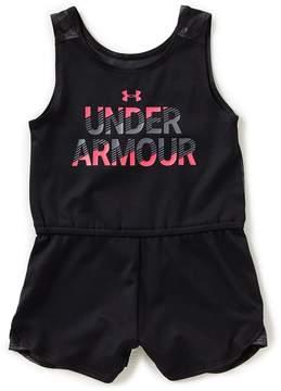 Under Armour Little Girls 2T-6X Jumbo Linear Wordmark Romper
