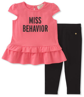 Kate Spade Infant Girls' Miss Behavior Tee W/ Leggings, Size 12-24 Months