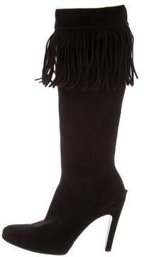 Helmut Lang Knee-High Fringe Boots