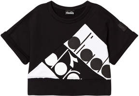 Diadora Black Branded Short Sleeve Sweater