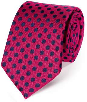 Charles Tyrwhitt Pink and Navy Silk Large Spot Classic Tie