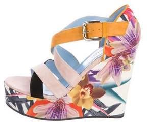 Studio Pollini Suede Floral Wedge Sandals