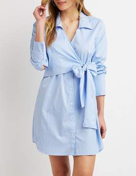 Charlotte Russe Striped Tie-Front Shirt Dress