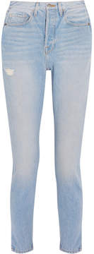 Frame Le Original Skinny Distressed High-rise Straight-leg Jeans - Blue