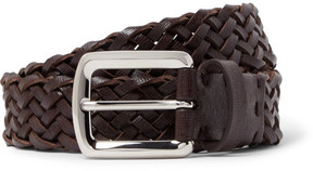 Brunello Cucinelli 3.5cm Brown Woven Cross-Grain Leather Belt