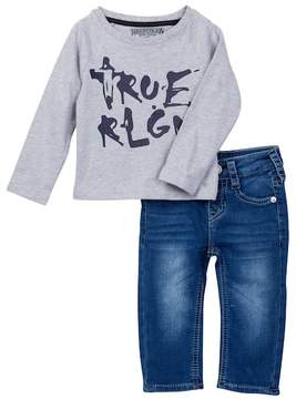 True Religion Branded Long Sleeve Raglan Tee & Jeans Set (Baby Boys)