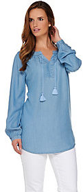 Denim & Co. As Is Long Sleeve Tencel Denim Peasant Tunic