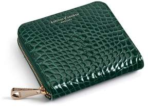 Aspinal of London Slim Mini Continental Purse In Evergreen Patent Croc
