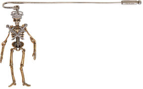 Alexander McQueen Gold and Silver King Skeleton Pin