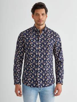 Frank and Oak Poplin Grapefruit Printed Shirt in Dress Blue