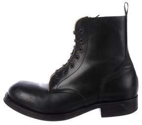 Alexander McQueen Zip-Trimmed Combat Boots