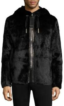 Bally Hooded Fur Striped Coat