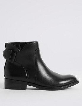 Marks and Spencer Leather Block Heel Bow Back Ankle Boots