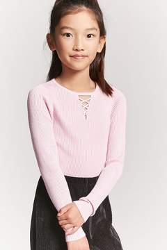 Forever 21 Girls Ribbed Knit Crisscross Cutout Sweater Top (Kids)