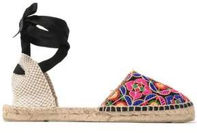 Manebi Lace-Up Embroidered Canvas Espadrilles