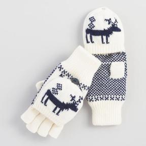 World Market White Deer Convertible Gloves