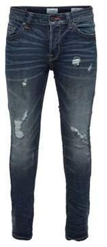 ONLY & SONS Regular Slim-Fit Destroyed Denim Jeans