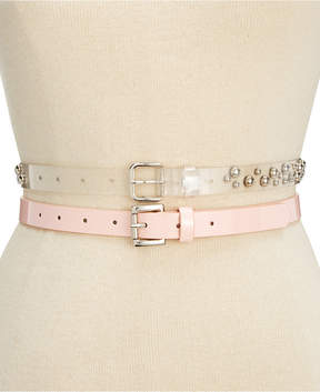 Steve Madden 2-for-1 Clear Studded & Patent Belts