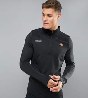 Ellesse Sport 1/4 Zip Long Sleeve T-Shirt In Black