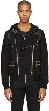 Balmain Black French Terry and Leather Jacket