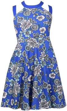 Bonnie Jean Girls 7-16 Floral Print Criss-Cross Strap Skater Dress