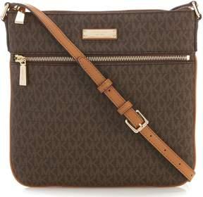 MICHAEL Michael Kors Bedford Signature Flat Cross-Body Bag - BROWN - STYLE