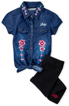 Lucky Brand Toddler Girls) Two-Piece Embroidered Tie Front Top & Pants Set