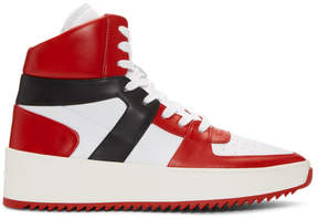 Fear Of God Red and White B-Ball High-Top Sneakers