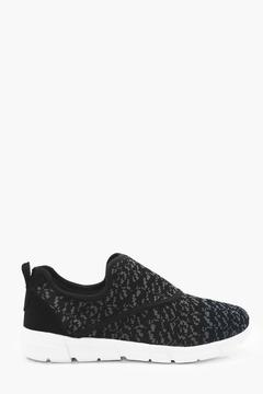 boohoo Knitted Slip On Runner Trainer