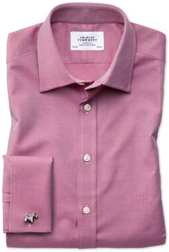 Charles Tyrwhitt Classic Fit Egyptian Cotton Royal Oxford Magenta Dress Shirt Single Cuff Size 15.5/33