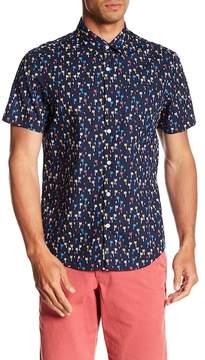 Original Penguin Short Sleeve Mini Color Palm Tree Print Slim Fit Shirt