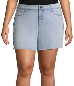Boutique + + Side Stripe Denim Shorts - Plus