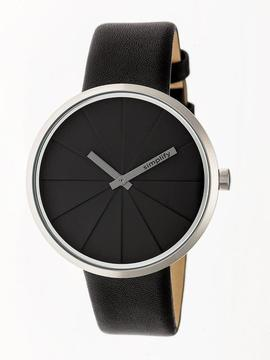 Simplify The 4000 SIM4007 Silver and Black Leather Analog Watch