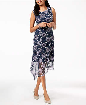 Alfani Embroidered Asymmetrical Dress, Created for Macy's