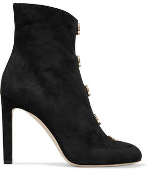 Jimmy Choo Loretta 100 Button-detailed Suede Ankle Boots - Black