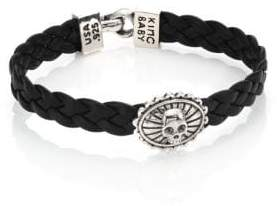 King Baby Studio Braided Leather Concho Bracelet