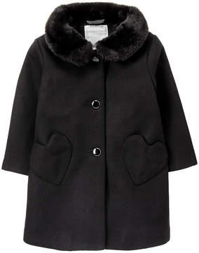 Gymboree Black Faux Fur-Trim Swing Coat - Infant & Toddler