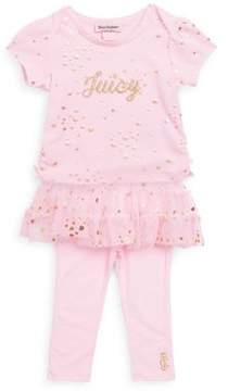 Juicy Couture Baby's Two-Piece Metallic Graphic Tutu Legging Set