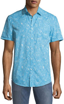 Report Collection Men's Ocean Paisley Short-Sleeve Oxford Shirt
