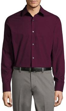 Claiborne Long Sleeve Dots Button-Front Shirt