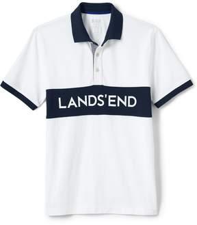 Lands' End Lands'end Men's Athleisure Chest Stripe Logo Polo
