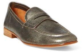 Ralph Lauren Ashtyn Metallic Leather Loafer Silver 11.5