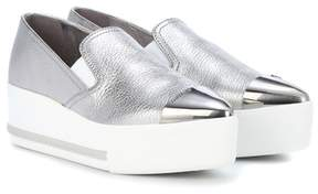 Miu Miu Metallic leather platform sneakers