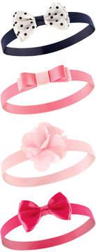 Hudson Baby Pink & Black Flower & Bow Headband Set