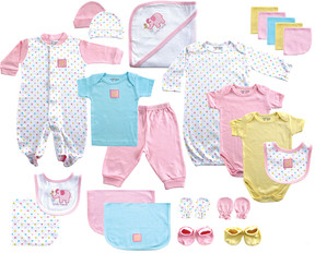 Luvable Friends Pink & Blue Polka Dot Footie 24-Piece Gift Cube Set - Newborn
